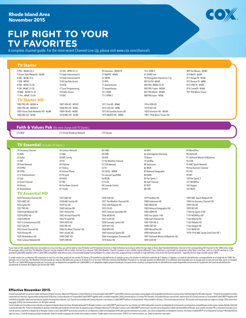 Channel Lineup - Cox Communications