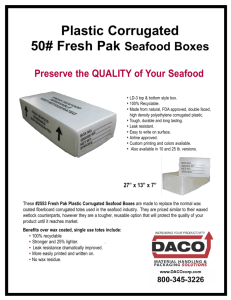 Plastic Corrugated 50# Fresh Pak Seafood Boxes Preserve the