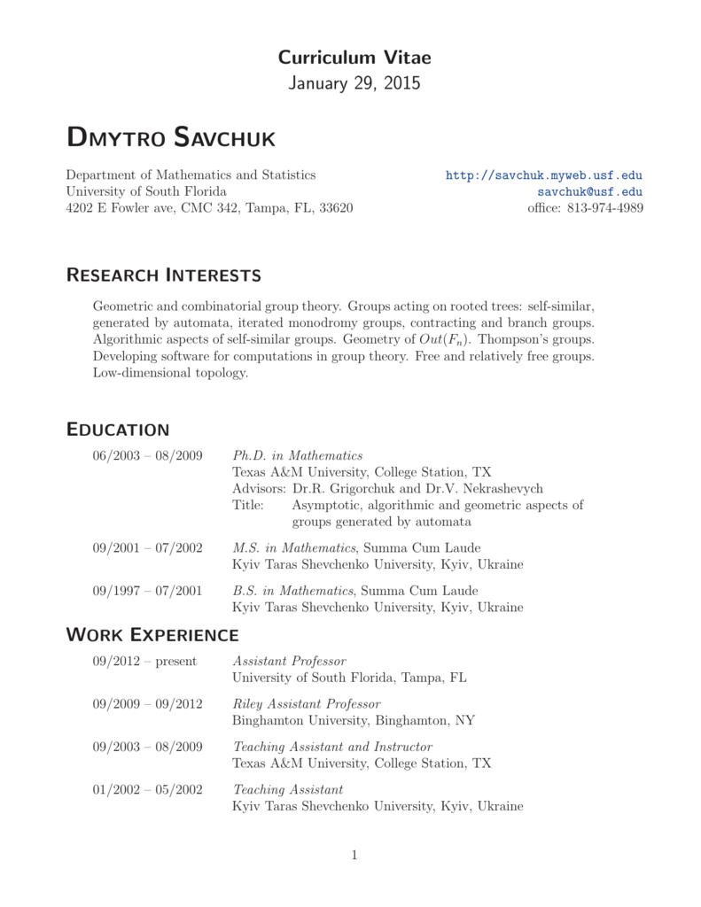 Curriculum Vitae - Department of Mathematics & Statistics