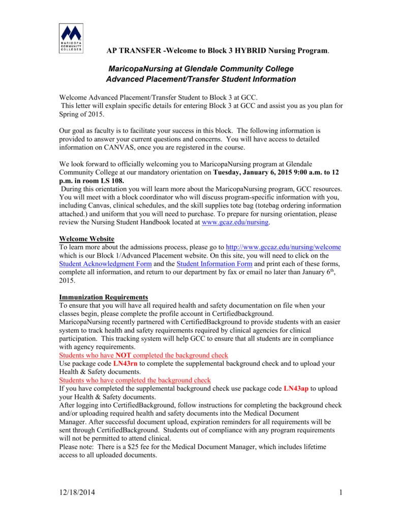 AP TRANSFER -Welcome to Block 3 HYBRID Nursing Program  12
