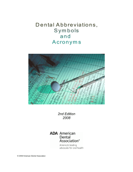 Dental Abbreviations, Symbols and Acronyms