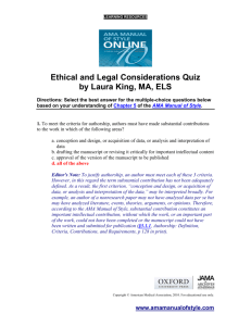 Ethical and Legal Considerations Quiz by Laura King, MA, ELS
