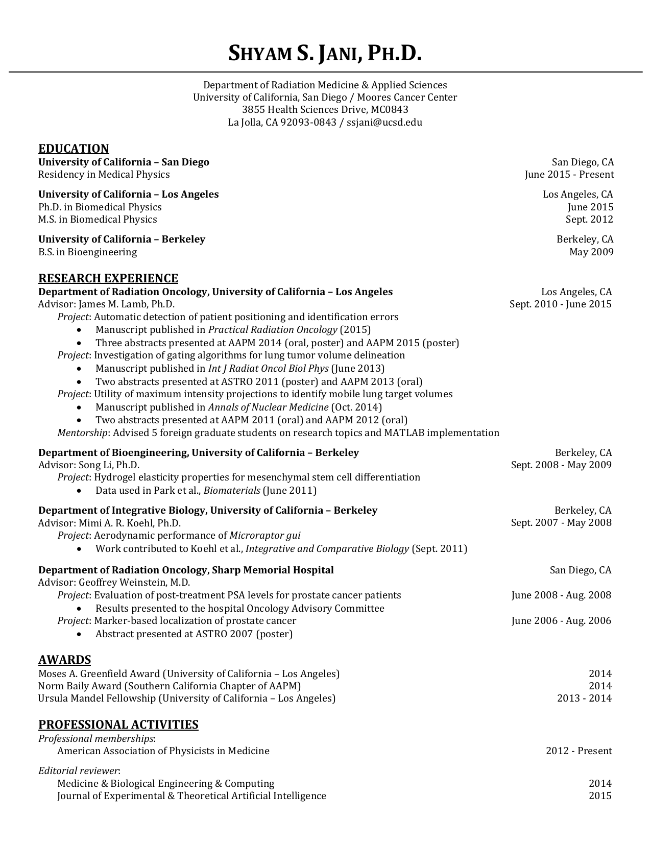 CV - UC San Diego Health Sciences - University of California