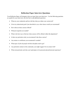 Reflection Paper Interview Questions