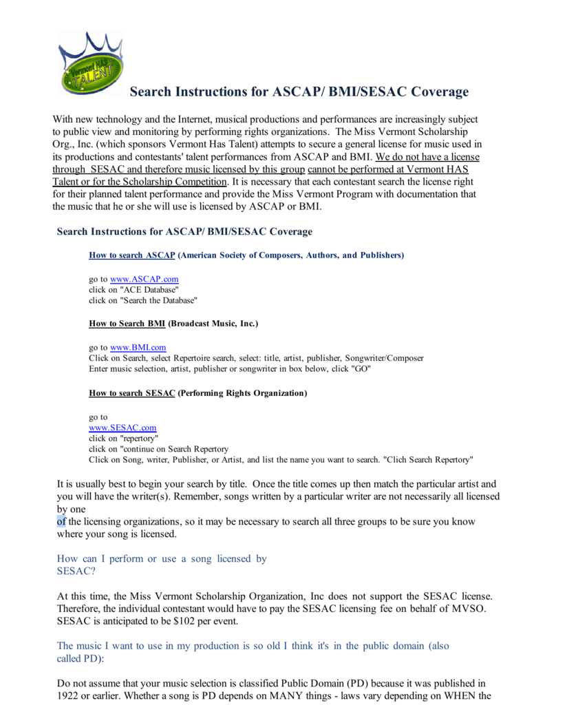 Search Instructions For Ascap Bmisesac Coverage