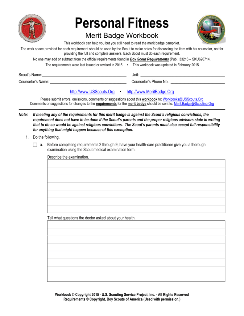 Personal Fitness Worksheet Us Scouting Service Project