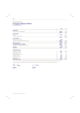 Company Balance Sheet - Annual Report and Accounts 2009