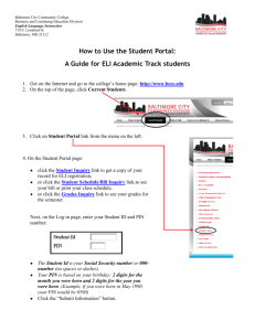 How to Use the Student Portal - Baltimore City Community College