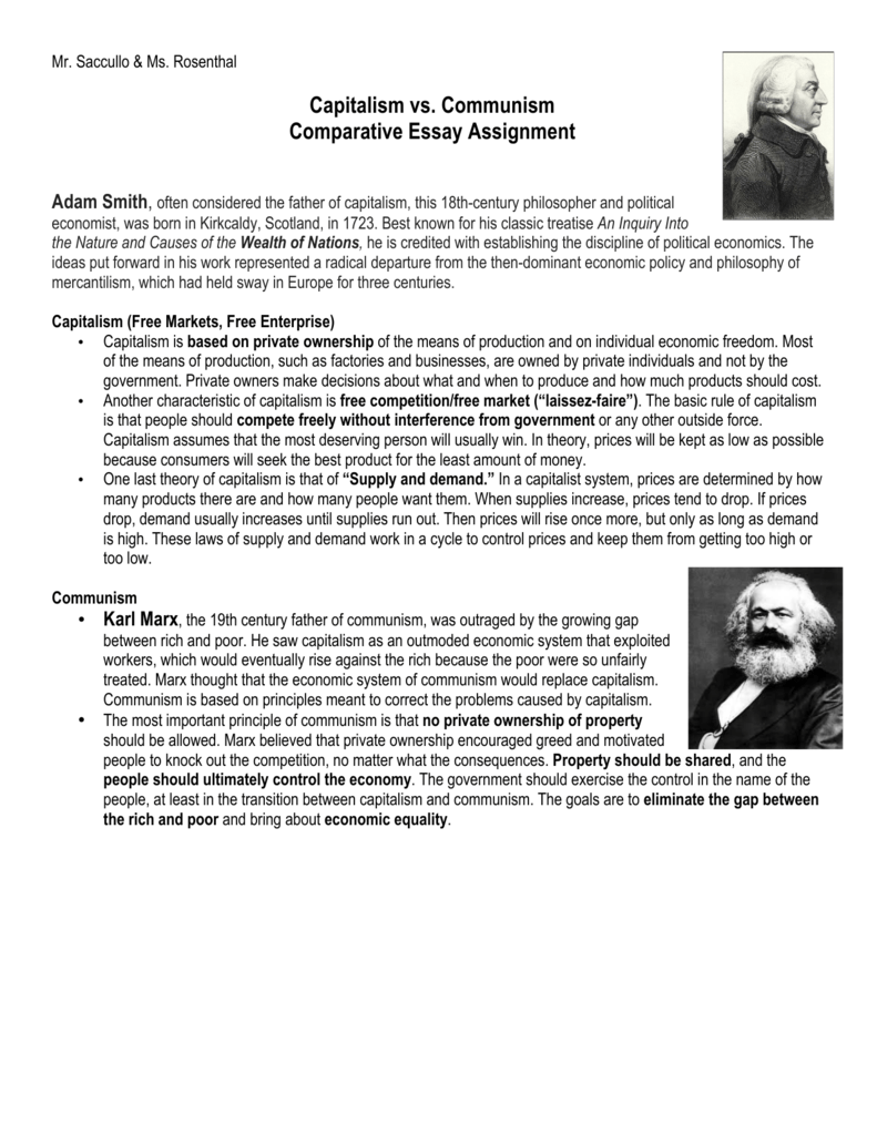 capitalism vs marxismcommunism essay Essays & papers communism vs capitalism  communism vs capitalism  adam smith is considered the founder and father of capitalism (just like marx is for communism .