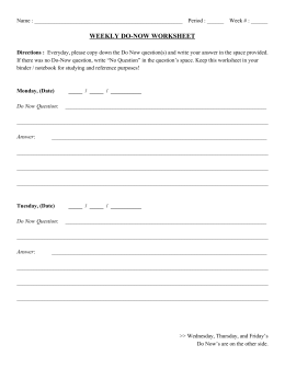 WEEKLY DONOW WORKSHEET