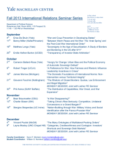 Fall 2013 International Relations Seminar Series