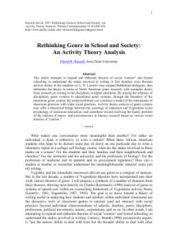 Rethinking Genre in School and Society: An Activity Theory Analysis