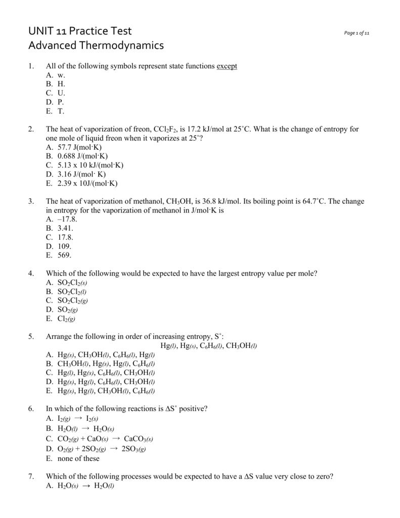 Unit 11 Practice Test Advanced Thermodynamics