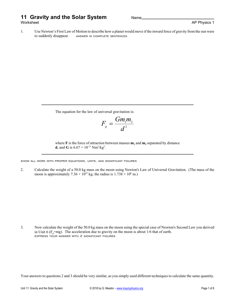 Worksheets Law Of Universal Gravitation Worksheet universal gravitation worksheet and quiz