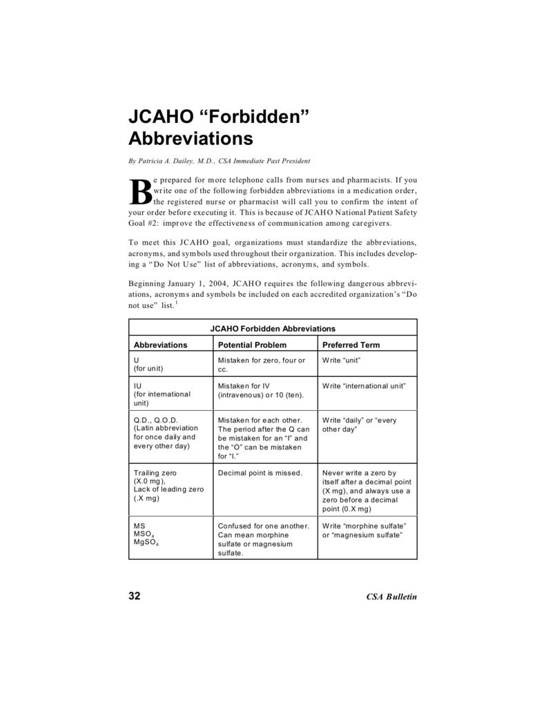 jcaho prohibited abbreviations