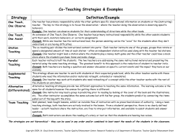 Co-Teaching Strategies & Examples Strategy Definition/Example