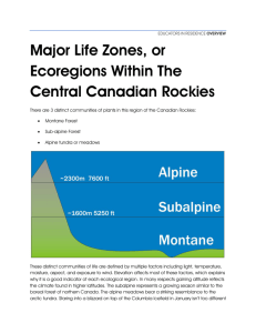 Major Life Zones, or Ecoregions Within The Central Canadian Rockies