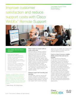 Cisco WebEx Support Center – Remote Support
