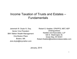 Income Taxation of Trusts and Estates – Fundamentals