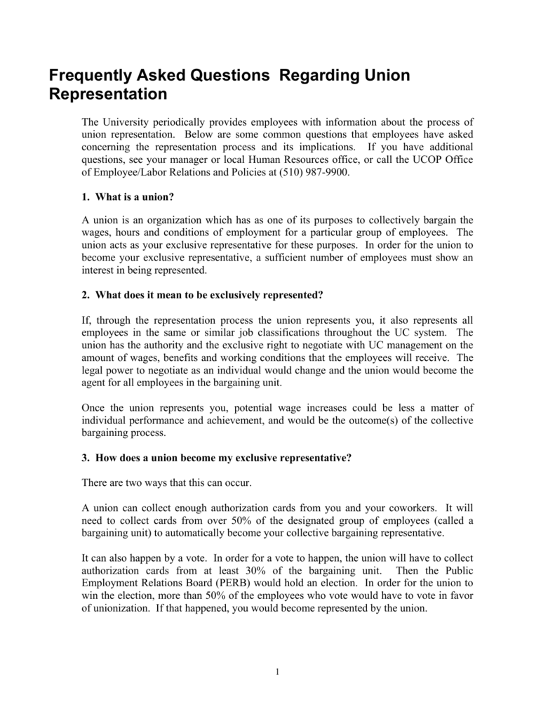 Frequently Asked Questions Regarding Union Representation