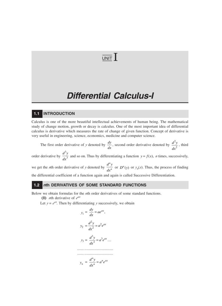 Differential Calculus-I