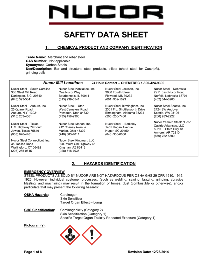MSDS for bar Steel - Nucor
