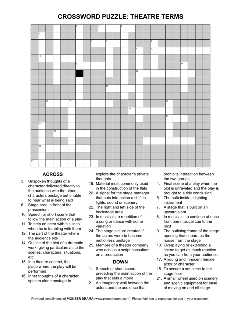 crossword puzzle theatre terms – Drama Terms Worksheet