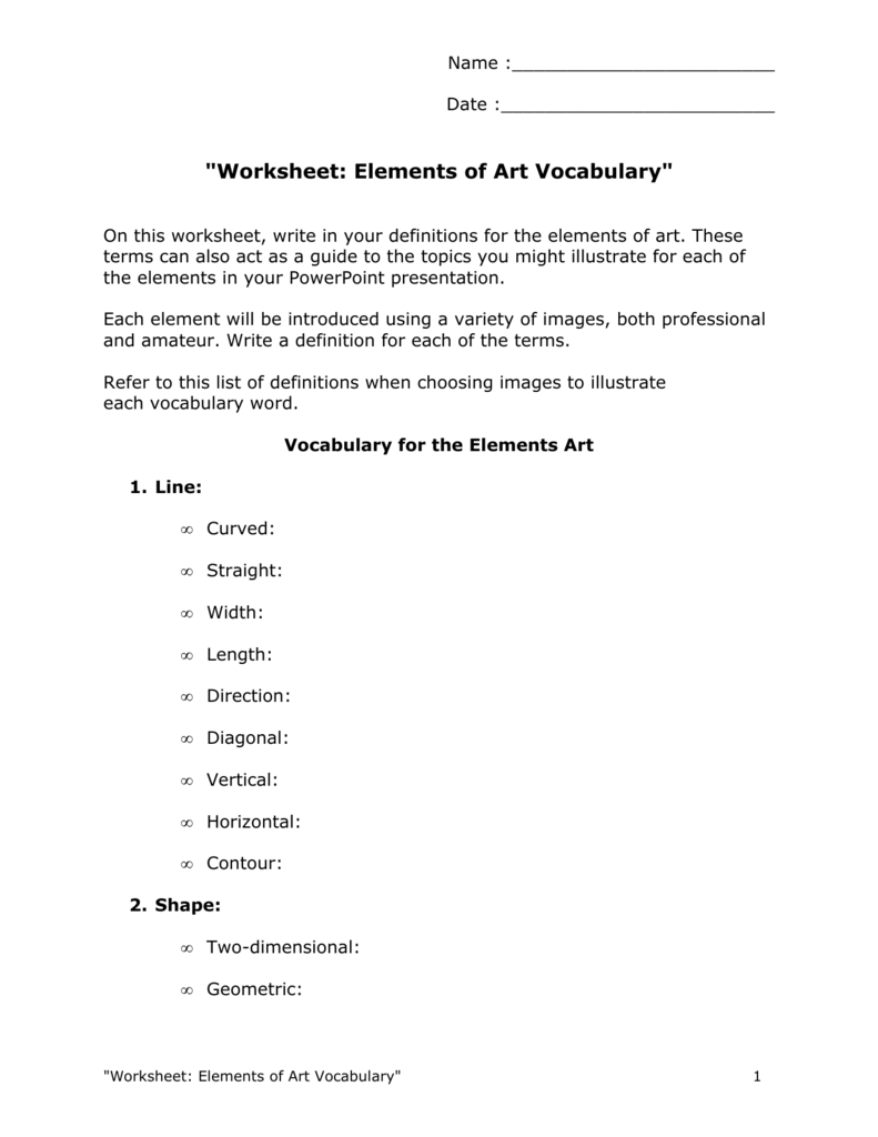 Worksheet: Elements of Art Vocabulary