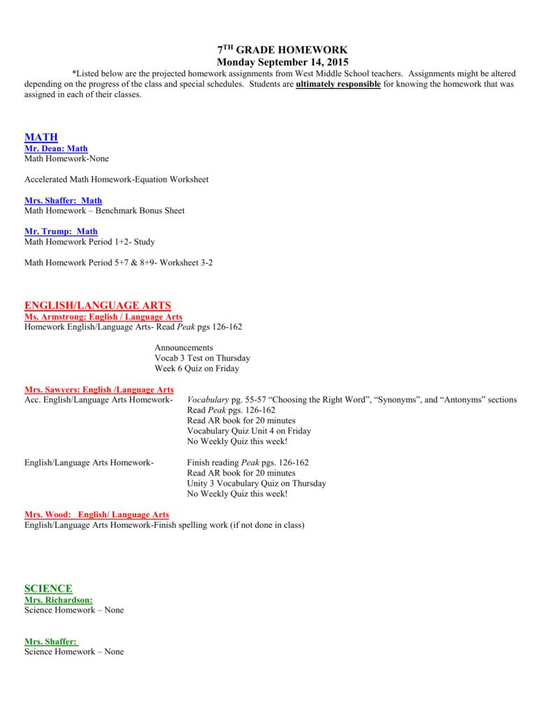 7th Grade Homework Monday September 14 2015 Math
