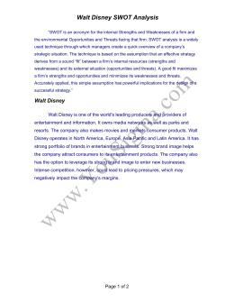 walt disney swot analysis