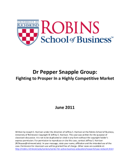 Dr Pepper Snapple Group - Robins School of Business