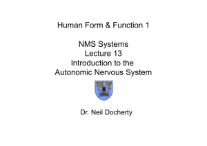 NMS Systems-Lecture 13-Introduction to the Autonomic Nervous