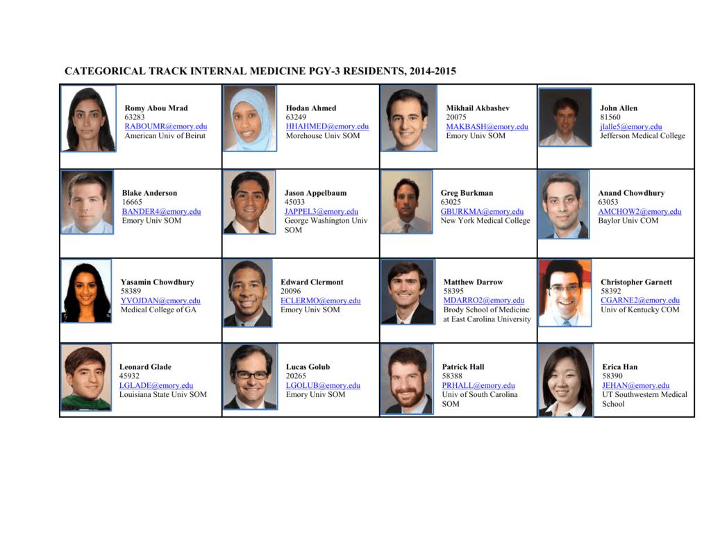 categorical track internal medicine pgy-3 residents, 2014-2015