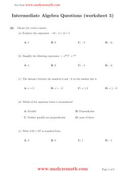 intermediate algebra questions worksheet 1 www analyzemath com