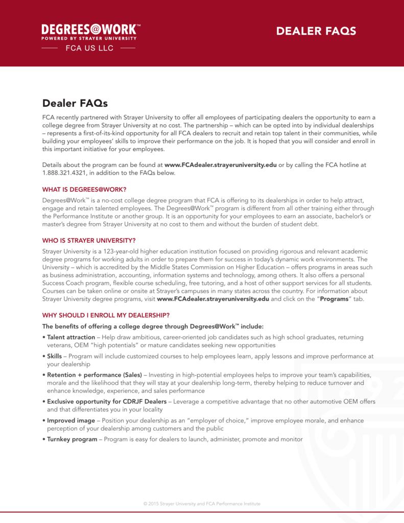 dealer faqs - and Degrees@Work Family