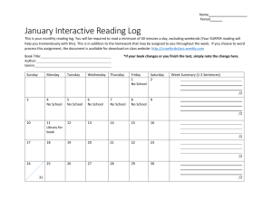 January Interactive Reading Log