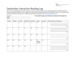 September Interactive Reading Log