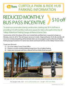 REDUCED MONTHLY BUS PASS INCENTIVE $10 o