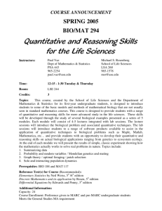 Quantitative and Reasoning Skills for the Life Sciences