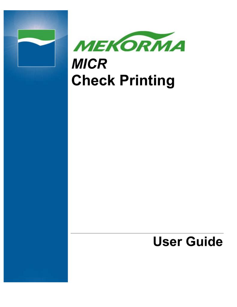 Mekorma MICR User Guide