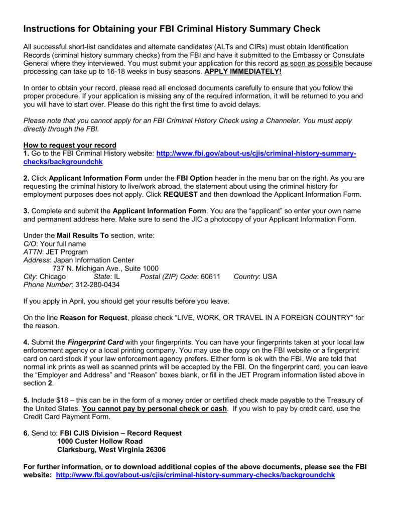 Fbi Criminal Background Check Application Instructions