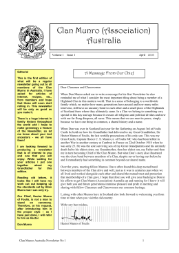 newsletter 1 - Clan Munro (Association) Australia