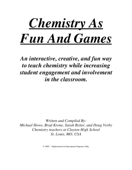 Chemistry As Fun And Games