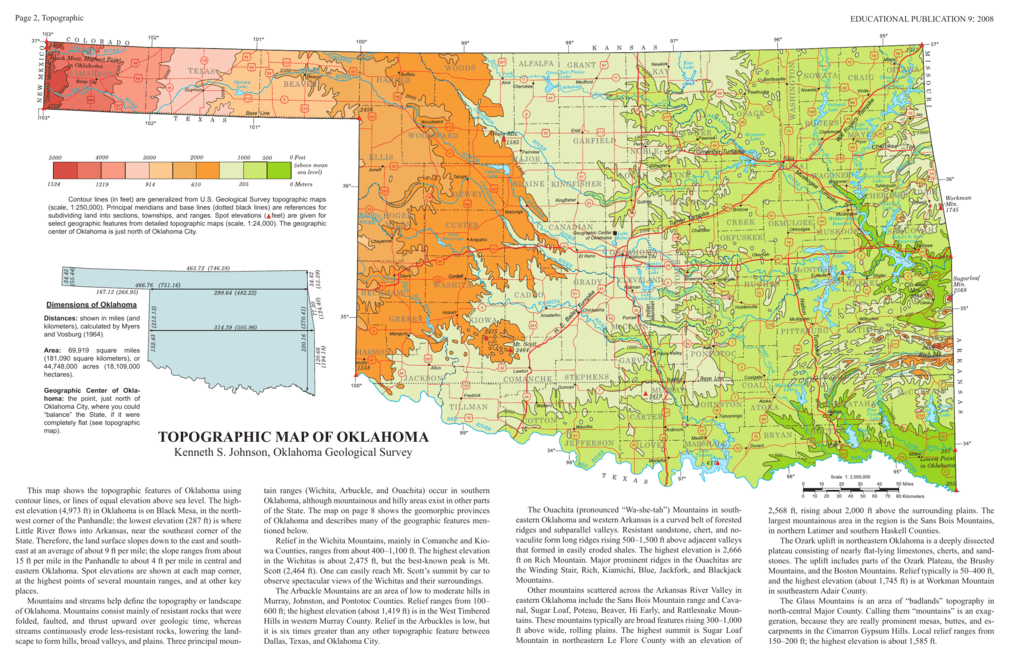 Topographic Map Of Oklahoma Oklahoma Geological Survey