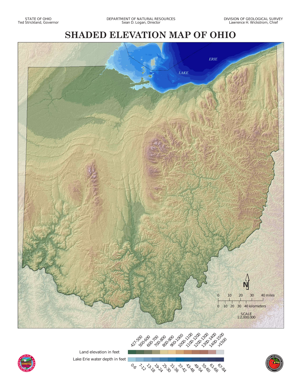 Water Elevation Map.Shaded Elevation Map Of Ohio