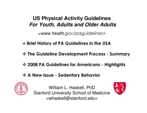 US Physical Activity Guidelines For Youth, Adults and Older Adults