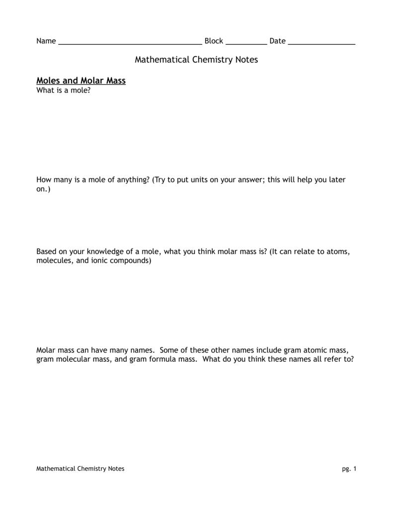 Mathematical Chemistry Notes Moles and Molar Mass – Gram Formula Mass Worksheet