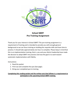 School SBIRT Pre-Training Assignment