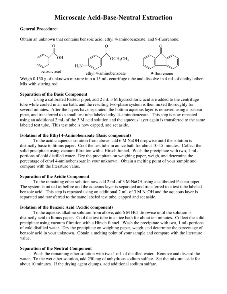 separation of acid base and neutral compounds from a solid mixture by liquid liquid extraction Acid/base extraction of a benzoic acid liquid: solid: a prepared mixture of unknown relative amounts benzoic acid, 4-nitroaniline, and naphthalene will first.