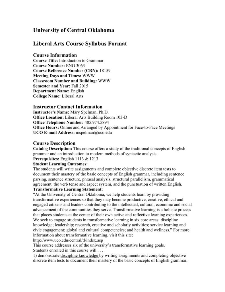 university of central oklahoma liberal arts course syllabus format